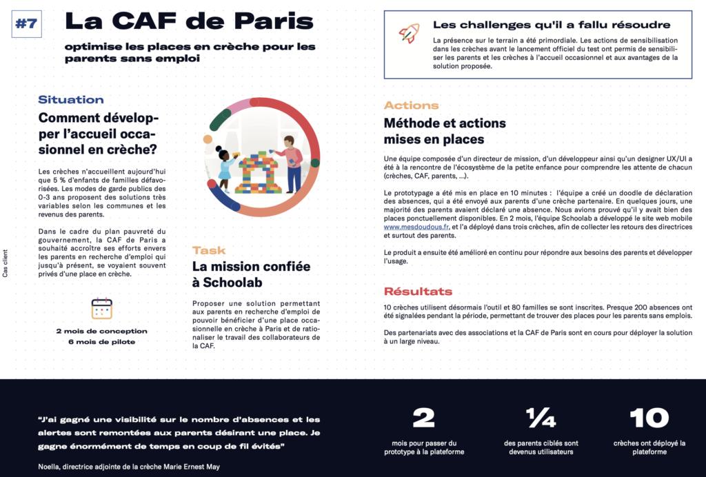 CAF Paris service innovant Schoolab